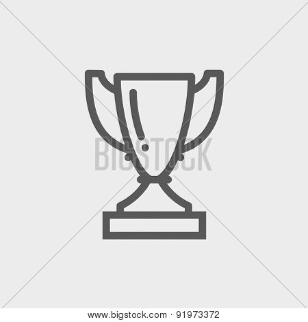 Trophy icon thin line for web and mobile, modern minimalistic flat design. Vector dark grey icon on light grey background.