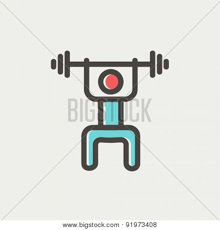 Weightlifter man with barbell icon thin line for web and mobile, modern minimalistic flat design. Vector icon with dark grey outline and offset colour on light grey background.