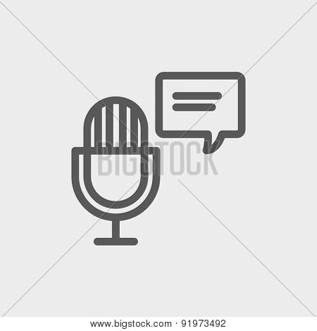 Microphone with speech bubble icon thin line for web and mobile, modern minimalistic flat design. Vector dark grey icon on light grey background.