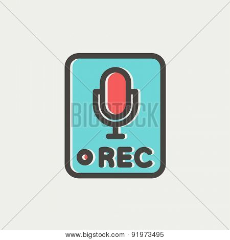 Recording station sign icon thin line for web and mobile, modern minimalistic flat design. Vector icon with dark grey outline and offset colour on light grey background.