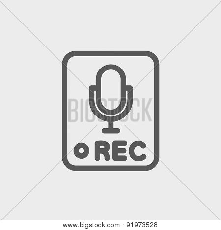 Recording station sign icon thin line for web and mobile, modern minimalistic flat design. Vector dark grey icon on light grey background.