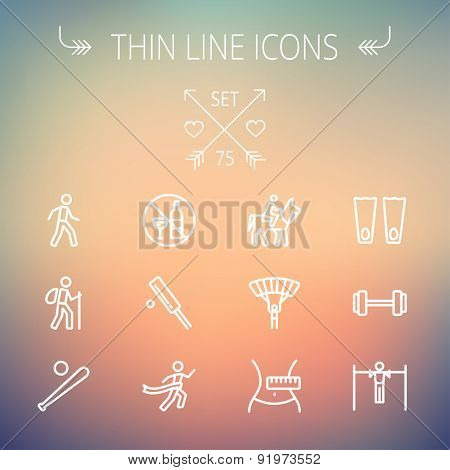 Sports thin line icon set for web and mobile. Set includes- walking exercise, hiking, baseball bat and ball, cricket game, skydiving, flippers icons. Modern minimalistic flat design. Vector white icon