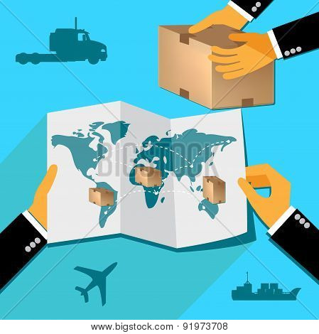 delivery concept, hands holding map with parcels, Vector web design and infographic