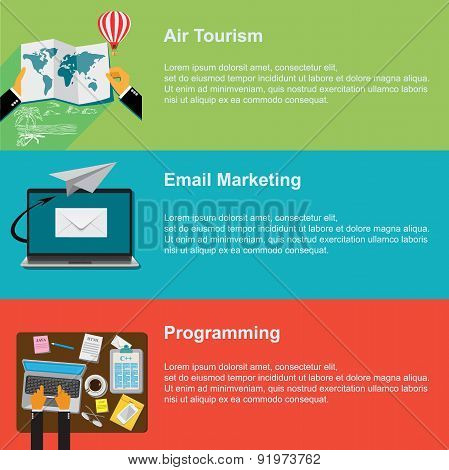 air tourism, email marketing and programming vector web design and infographic
