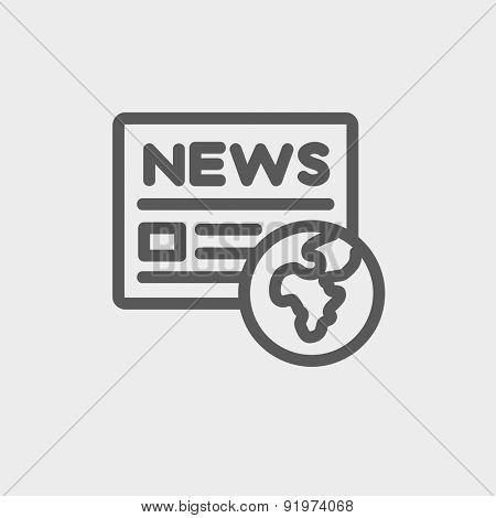 Global news icon thin line for web and mobile, modern minimalistic flat design. Vector dark grey icon on light grey background.