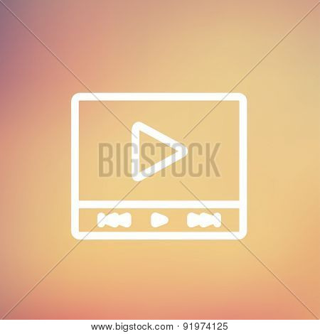 Play sign in movie player icon thin line for web and mobile, modern minimalistic flat design. Vector white icon on gradient mesh background.