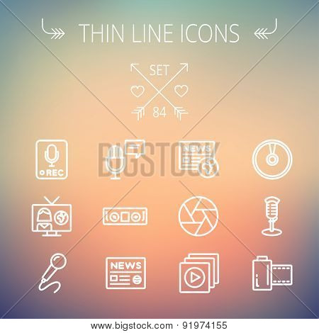 Multimedia thin line icon set for web and mobile. Set includes- vintage mic, car stereo, news, station, news report, tv, camera shutter, media player, Cd, film roll icons. Modern minimalistic flat