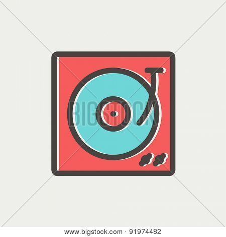 Turntable with vinyl disc icon thin line for web and mobile, modern minimalistic flat design. Vector icon with dark grey outline and offset colour on light grey background.