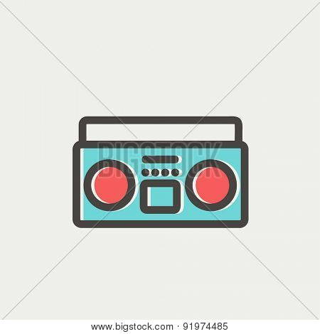 Cassette player icon thin line for web and mobile, modern minimalistic flat design. Vector icon with dark grey outline and offset colour on light grey background.