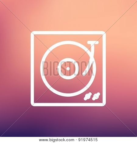 Turntable with vinyl disc icon thin line for web and mobile, modern minimalistic flat design. Vector white icon on gradient mesh background.