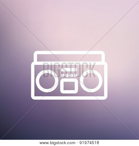 Cassette player icon thin line for web and mobile, modern minimalistic flat design. Vector white icon on gradient mesh background.