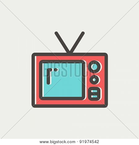Vintage television icon thin line for web and mobile, modern minimalistic flat design. Vector icon with dark grey outline and offset colour on light grey background.
