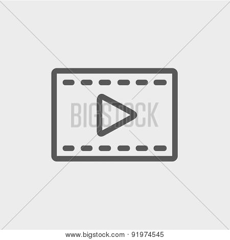 Film strip with arrow icon thin line for web and mobile, modern minimalistic flat design. Vector dark grey icon on light grey background.