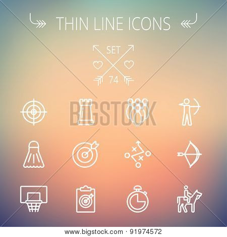 Sports thin line icon set for web and mobile. Set includes- chess rook, target board, crosshair, shuttlecock, basketball hoop, bowling pins, stopwatch, archery, bow and arrow, horse riding icons