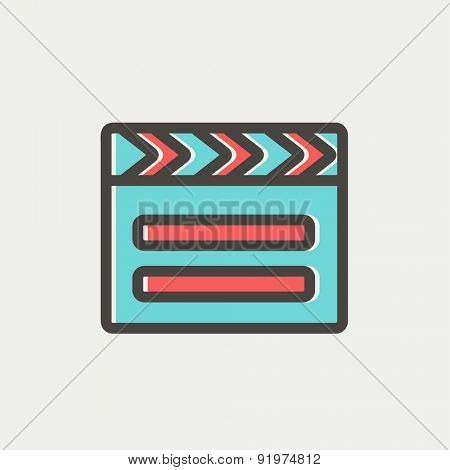 Clapboard icon thin line for web and mobile, modern minimalistic flat design. Vector icon with dark grey outline and offset colour on light grey background.