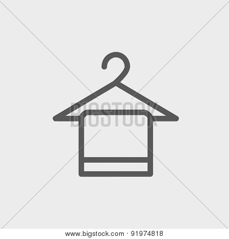 Towel on hanger icon thin line for web and mobile, modern minimalistic flat design. Vector dark grey icon on light grey background.