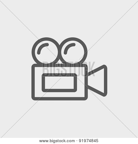 Old cinema video cam icon thin line for web and mobile, modern minimalistic flat design. Vector dark grey icon on light grey background.