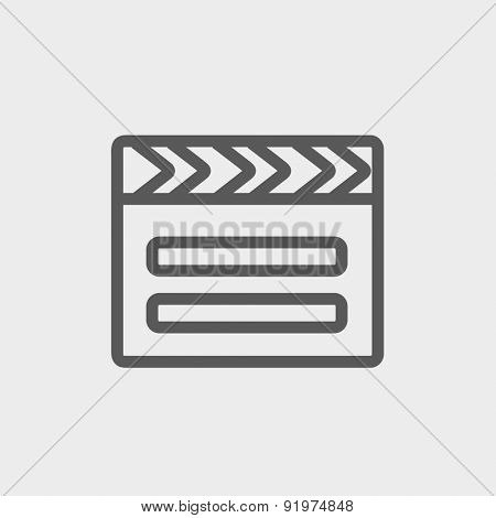 Clapboard icon thin line for web and mobile, modern minimalistic flat design. Vector dark grey icon on light grey background.