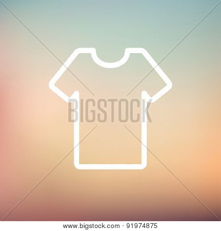 T-shirt icon thin line for web and mobile, modern minimalistic flat design. Vector white icon on gradient mesh background.