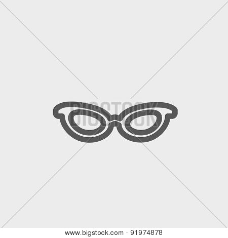 Retro cat eyeglasses icon thin line for web and mobile, modern minimalistic flat design. Vector dark grey icon on light grey background.