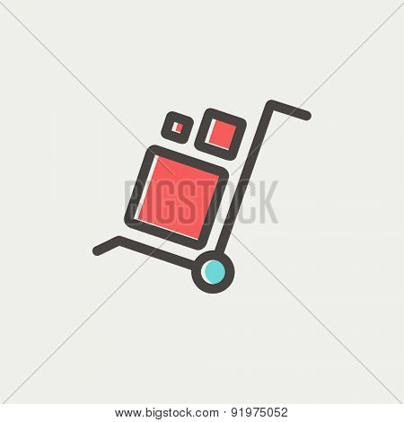 Trolley with boxes icon thin line for web and mobile, modern minimalistic flat design. Vector icon with dark grey outline and offset colour on light grey background.