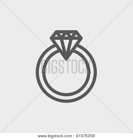 Diamond ring icon thin line for web and mobile, modern minimalistic flat design. Vector dark grey icon on light grey background.