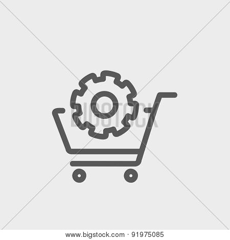 Shopping cart with gear icon thin line for web and mobile, modern minimalistic flat design. Vector dark grey icon on light grey background.