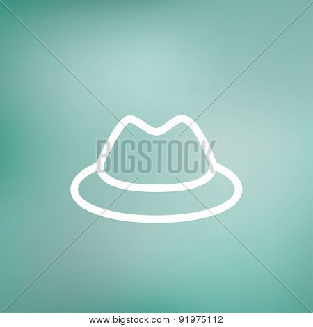 Classic hat icon thin line for web and mobile, modern minimalistic flat design. Vector white icon on gradient mesh background.