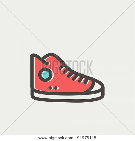 High cut rubber shoes icon thin line for web and mobile, modern minimalistic flat design. Vector icon with dark grey outline and offset colour on light grey background.