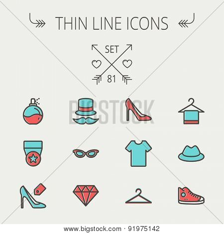 Business shopping thin line icon set for web and mobile. Set includes - vintage cap, cat eyeglasses, diamond, high heel, t-shirt, hanger, cap, rubber shoe, perfume, medal   icons. Modern minimalistic