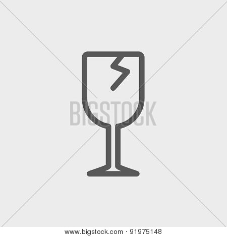 Broken glass wine icon thin line for web and mobile, modern minimalistic flat design. Vector dark grey icon on light grey background.