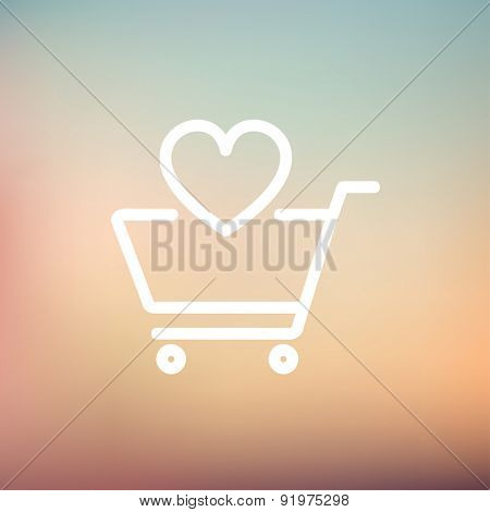 Shopping cart with heart icon thin line for web and mobile, modern minimalistic flat design. Vector white icon on gradient mesh background.