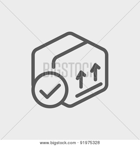 Box with validation mark icon thin line for web and mobile, modern minimalistic flat design. Vector dark grey icon on light grey background.