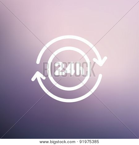 24 hrs service icon thin line for web and mobile, modern minimalistic flat design. Vector white icon on gradient mesh background.