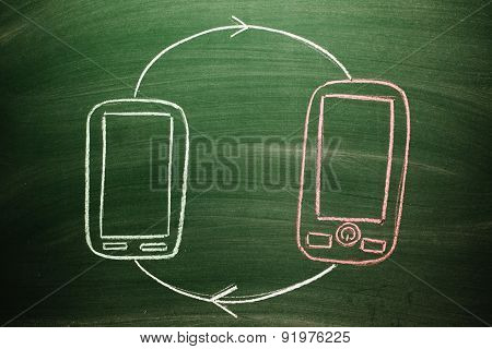 connected mobile phones concept on a blackboard