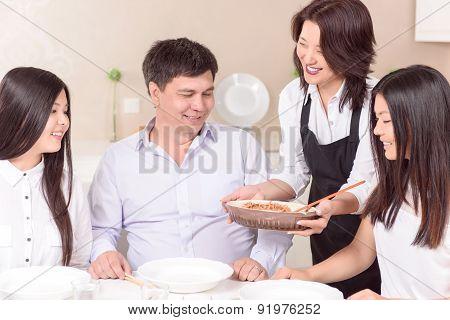 Full family ready for fresh lunch