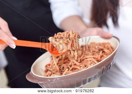 Close-up of fresh Asian food