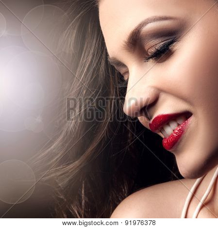 Beauty Portrait Of Smiling Brunette Lady.