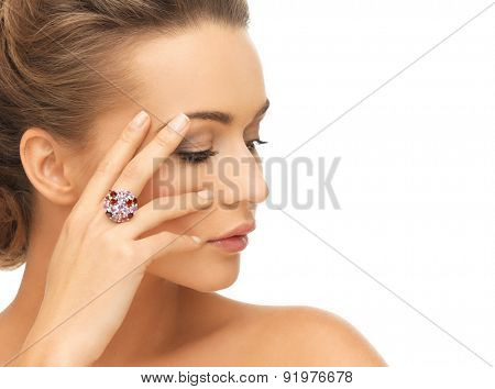 bride and wedding concept - beautiful woman with purple cocktail ring