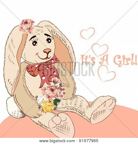 Birthday Greeting Card With Plush Hare And Flowers It Is A Girl