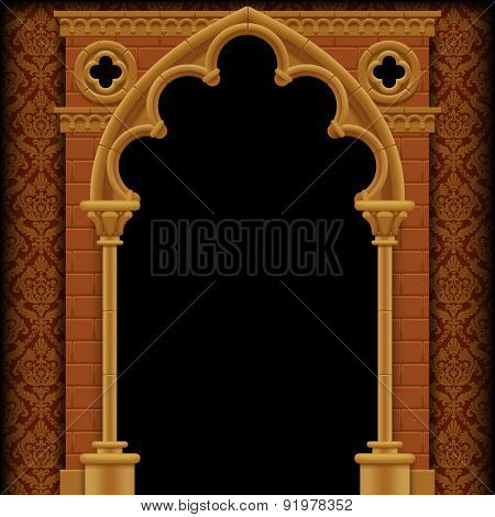 Stone Gothic gate and wall on classic background. Vintage architecture frame.  Vector Illustration