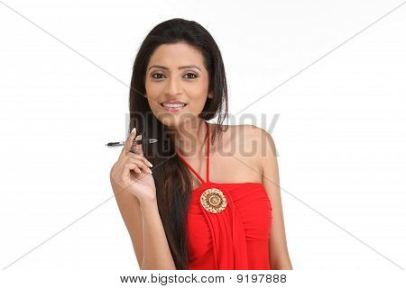 women with her pen on a white background