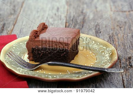 Piece of chocolate sheet cake
