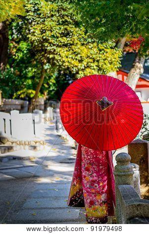 Kimono Girl and Red Umbrella