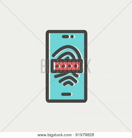 Mobile wifi icon thin line for web and mobile, modern minimalistic flat design. Vector icon with dark grey outline and offset colour on light grey background.