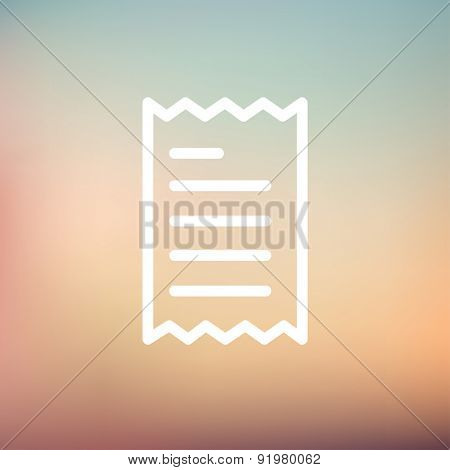 Paper with lines icon thin line for web and mobile, modern minimalistic flat design. Vector white icon on gradient mesh background.