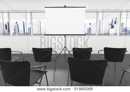 Projection Screen And Chairs