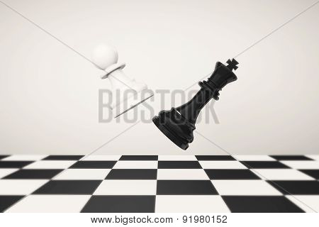 Playing Chess Concept. Pawn With Queen Fighting