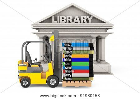 Library Building And Forklift With Stack Of Books