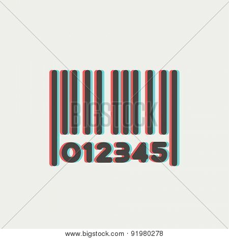 Barcode icon thin line for web and mobile, modern minimalistic flat design. Vector icon with dark grey outline and offset colour on light grey background.